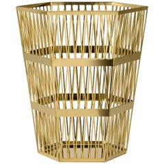 Ghidini 1961 Large Paper Basket Polished Gold Finish Steel by Richard Hutten