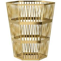 Ghidini 1961 Large Paper Basket Polished Gold Finish Steel by Richard Hutten