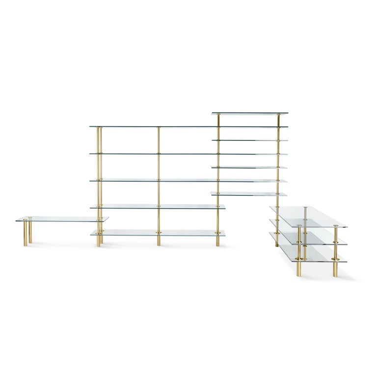 Modern Ghidini 1961 Legs Bookshelves in Crystal and Brass by Paolo Rizzatto For Sale