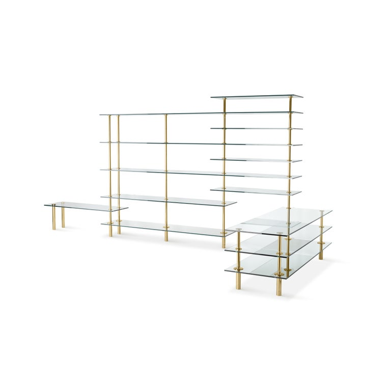 Italian Ghidini 1961 Legs Bookshelves in Crystal and Brass by Paolo Rizzatto For Sale