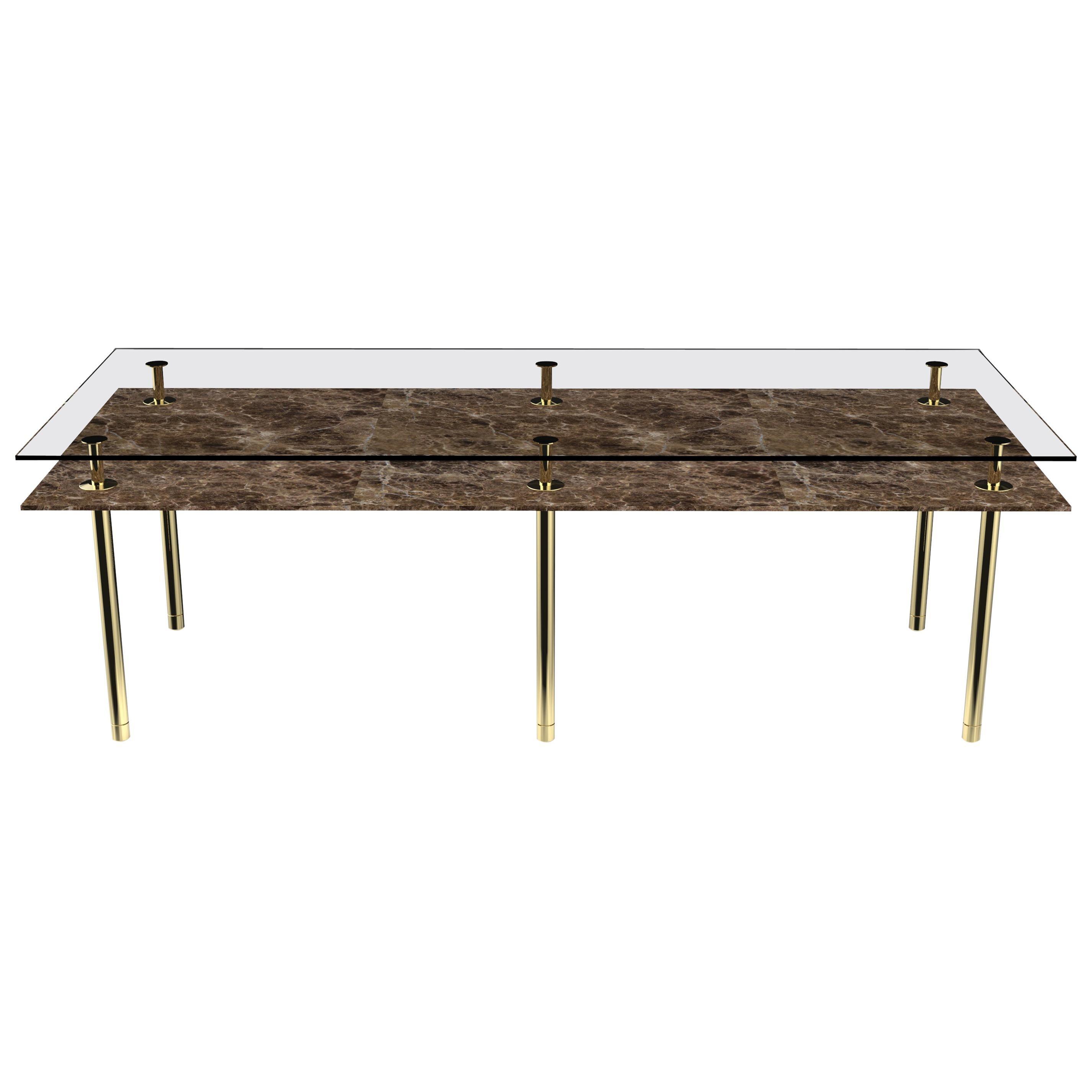 Ghidini 1961 Legs Rectangular Dining Table with Emperador Dark Marble Top