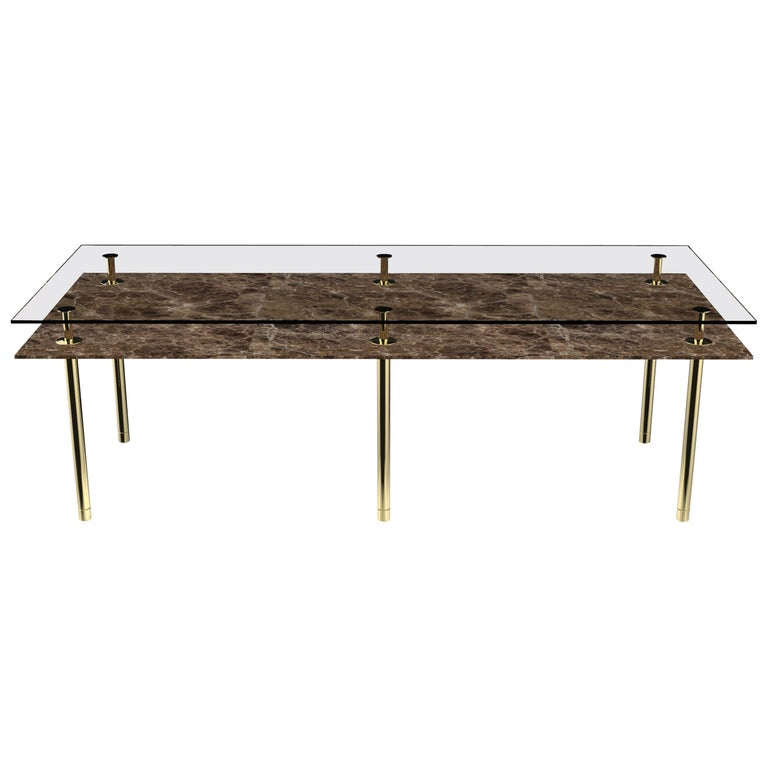 For Sale: Gold (Polished Brass) Ghidini 1961 Legs Rectangular Dining Table with Emperador Dark Marble Top