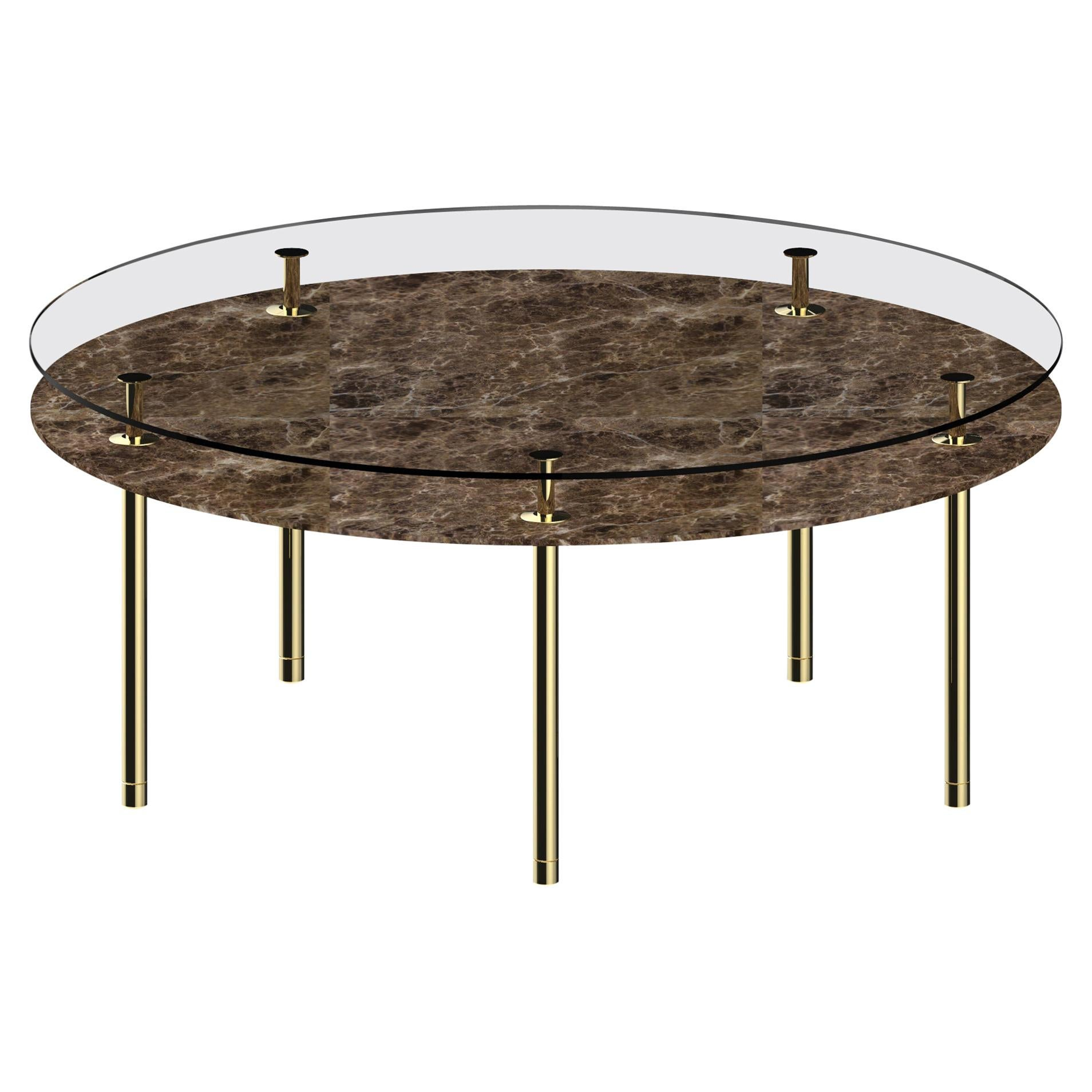 Ghidini 1961 Legs Round Table with Emperador Dark Marble Top by Paolo Rizzatto