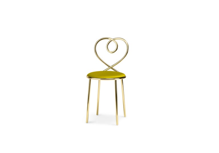 Love is all around. Clench yours tight, hold it close, and bestow on it the shiny perch it so wishes it deserved. Love chair for Ghidini 1961 provides a sumptuously soft landing for the love you¹ve decided to start domesticating. Seated on a pale