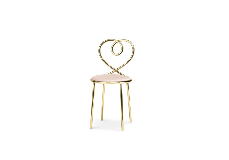 Ghidini 1961 Love Chair Dusty Rose in Polished Brass by Nika Zupanc 2