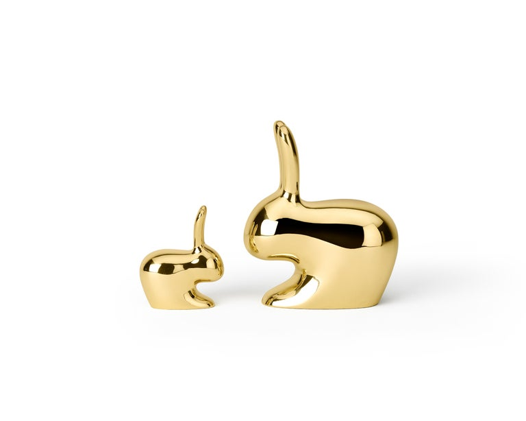 Modern Ghidini 1961 Medium Rabbit in Polished Brass by Stefano Giovannoni For Sale