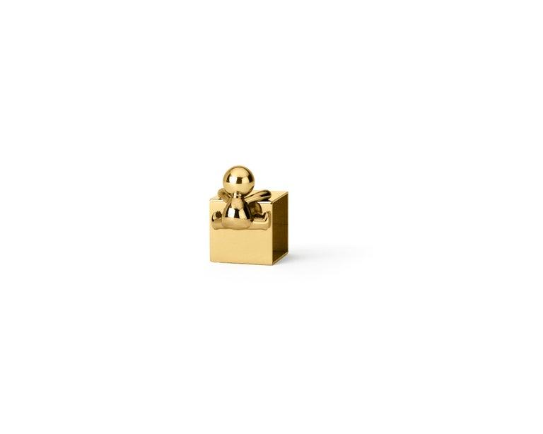 Modern Ghidini 1961 Omini Napkin Holder 1 in Polished Brass by Stefano Giovannoni For Sale