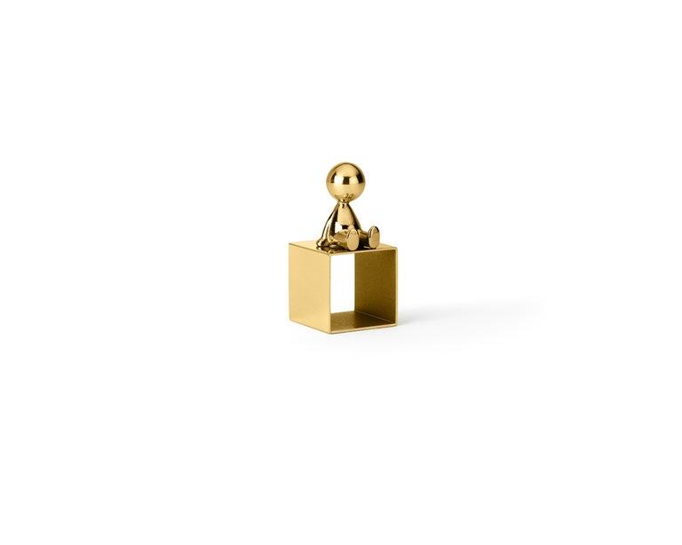 Italian Ghidini 1961 Omini Napkin Holder 2 in Polished Brass by Stefano Giovannoni For Sale