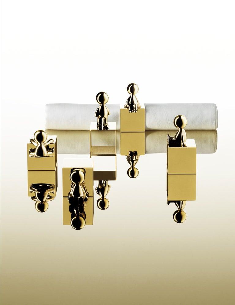 Ghidini 1961 Omini Napkin Holder 3 in Polished Brass by Stefano Giovannoni For Sale 2