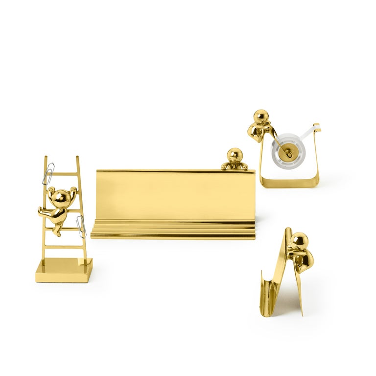 Italian Ghidini 1961 Omini Pen and Cards Tray in Polished Brass by Stefano Giovannoni For Sale