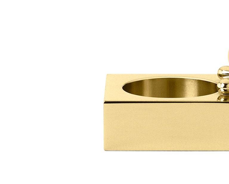 Italian Ghidini 1961 Omini Squared Tea Lightin Polished Brass by Stefano Giovannoni For Sale