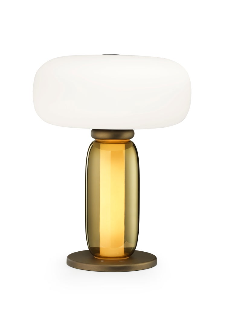 Modern Ghidini 1961 One on One Table Lamp in Burnished Brass and Glass by Branch For Sale
