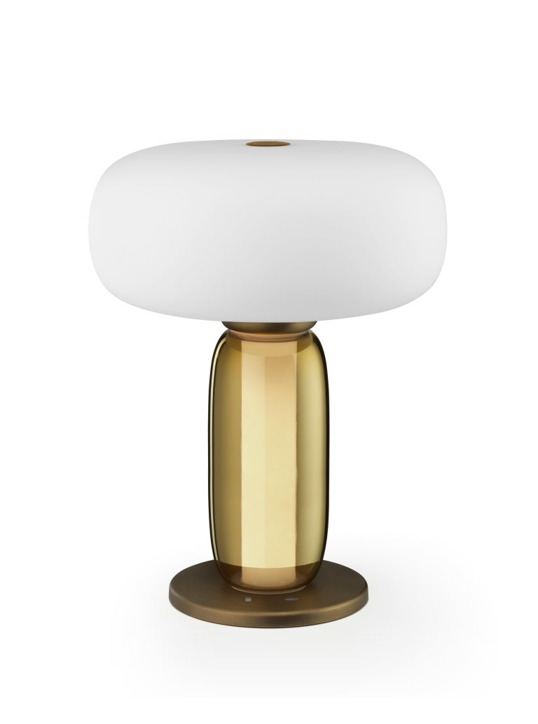 Italian Ghidini 1961 One on One Table Lamp in Burnished Brass and Glass by Branch For Sale