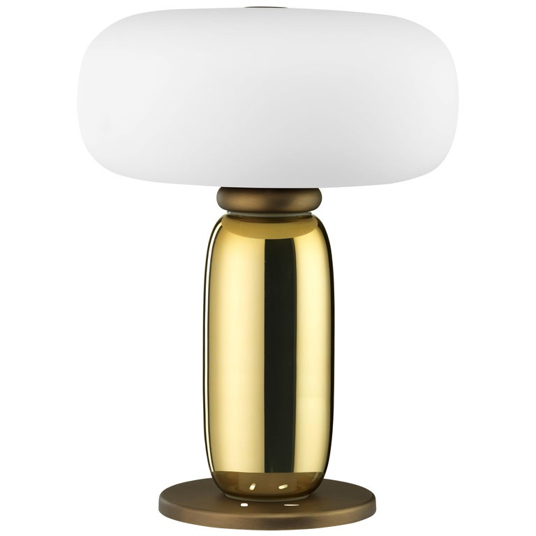 Ghidini 1961 One on One Table Lamp in Burnished Brass and Glass by Branch For Sale