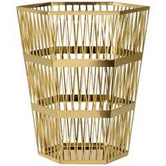 Ghidini 1961 Small Paper Basket Polished Gold Finish Steel by Richard Hutten