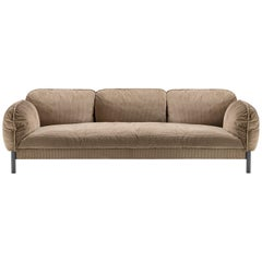 Ghidini 1961 Tarantino 3-Seat Sofa in Brown Cord Fabric by L. Bozzoli