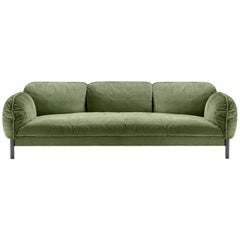 Ghidini 1961 Tarantino 3-Seat Sofa in Green Cord Fabric by L. Bozzoli