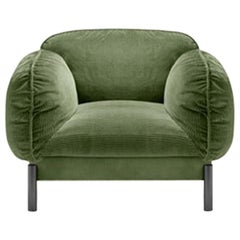 Ghidini 1961 Tarantino Armchair in Green Cord Fabric with Brass by L. Bozzoli