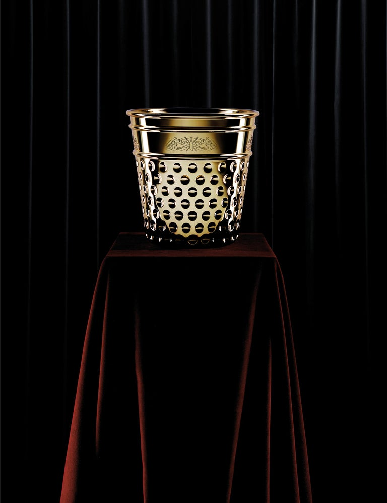 Italian Ghidini 1961 Thimble Ice Bucket in Brass by Studio Job For Sale