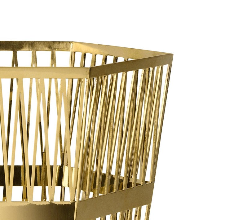 Modern Ghidini 1961 Tip Top Large Paper Basket in Gold by Richard Hutten For Sale