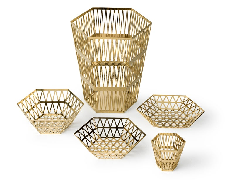 Italian Ghidini 1961 Tip Top Small Paper Basket in Gold by Richard Hutten For Sale