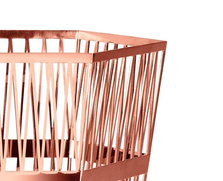Modern Ghidini 1961 Tip Top Small Paper Basket in Rose Gold by Richard Hutten For Sale