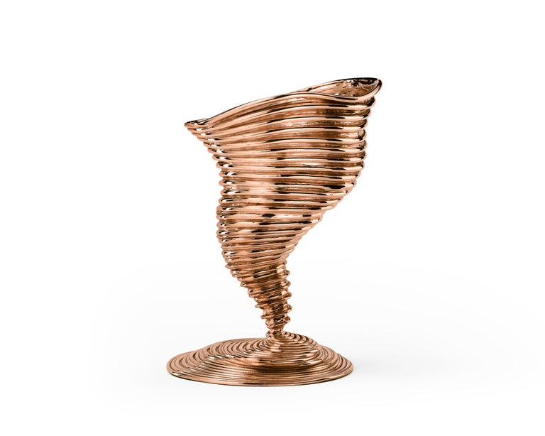 Italian Ghidini 1961 Tornado Vase in Polished Brass by Campana Brothers For Sale