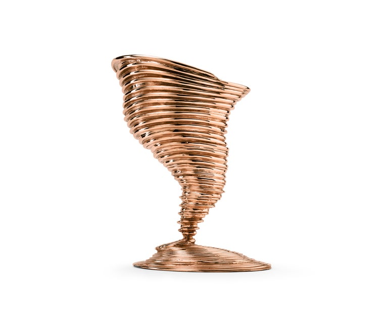 Ghidini 1961 Tornado Vase in Polished Brass by Campana Brothers In New Condition For Sale In Villa Carcina, IT