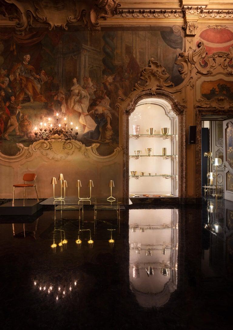 Italian Ghidini 1961 Trio Table Lamp in Satin Brass by Aldo Cibic For Sale