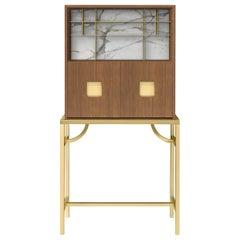 Ghidini 1961 Zuan Large Cabinet in Oak and Calacatta Marble by P.Rizzatto