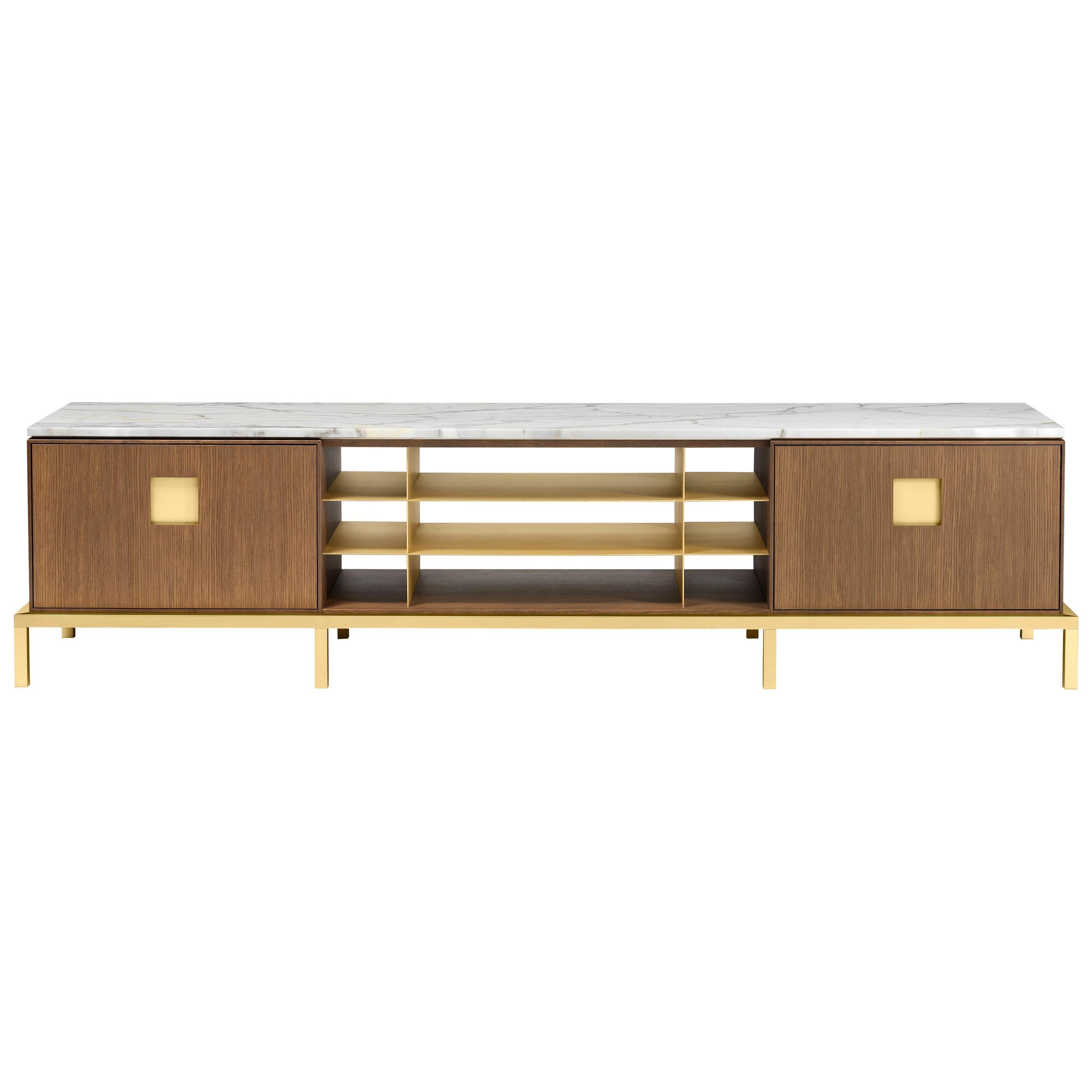 Ghidini 1961 Zuan Living Cabinet in Oak and Calacatta Marble by P.Rizzatto