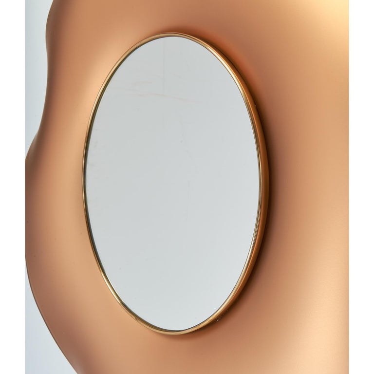 Italian Ghiro Studio Undulating Mirror in Solid Colored Glass, 2018 For Sale