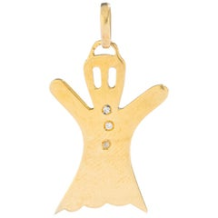 Ghost Diamond Yellow Gold 18 Karat Pendant Charm