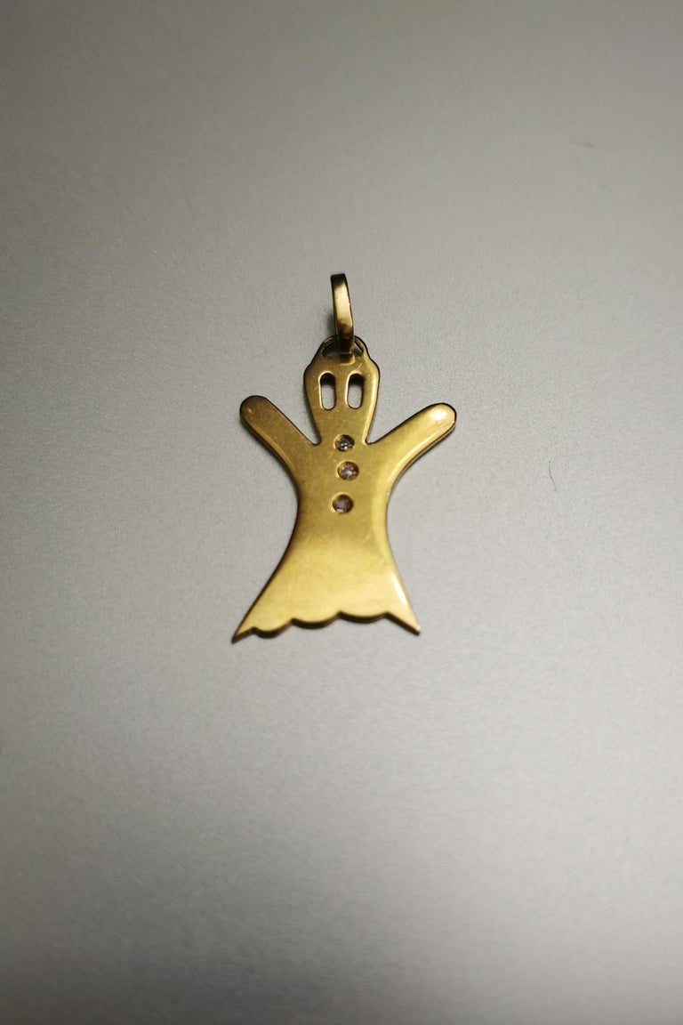 Ghost Yellow Gold 18k Pendant Charm. Three small diamonds. Circa 1990.  Total height: 1.34 inch (3.40 centimeters) including bail.