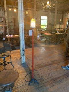 Ghost Light, Theater Stage Floor Lamp, Glass, Iron and Steel, Vintage Industrial