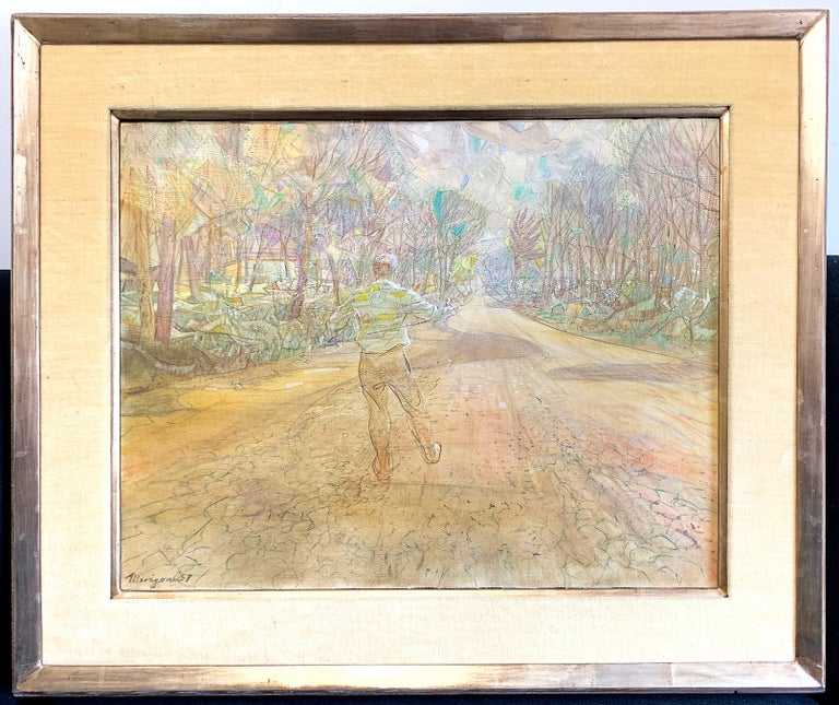 An early and important painting by renowned Grand Rapids artist Armand Merizon, this work depicts a ghostly figure -- reputedly the son of a dear family friend -- in the midst of the natural landscape Merizon loved. Although the artist lived most of