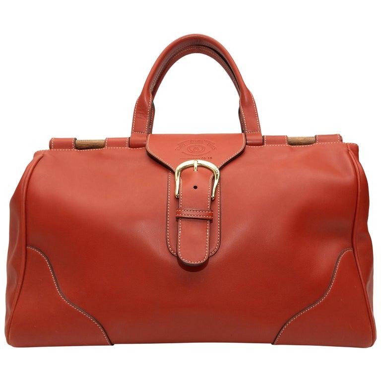 Ghurka Orange Large Leather Handbag For Sale