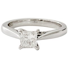 GIA 0.50 Carat Princess Cut Diamond Ring in Platinum