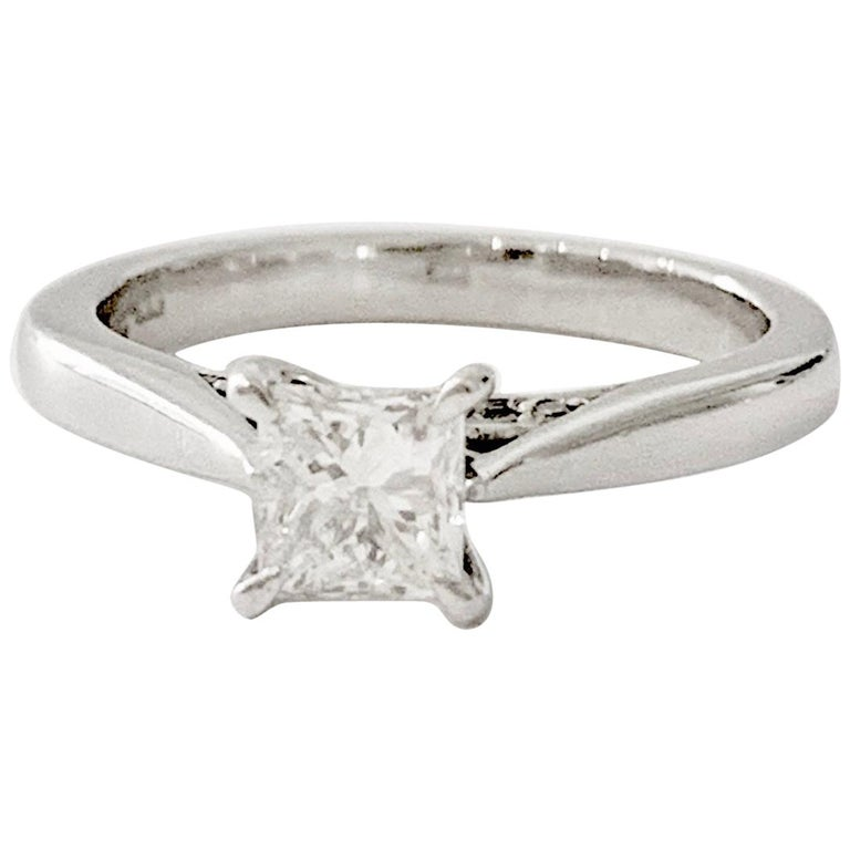GIA 0.50 Carat Princess Cut Diamond Ring in Platinum For Sale