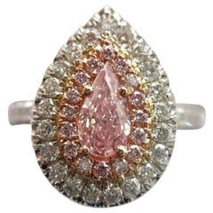 GIA 0.50 Certified Fancy Pink Pear Cut Diamond Ring