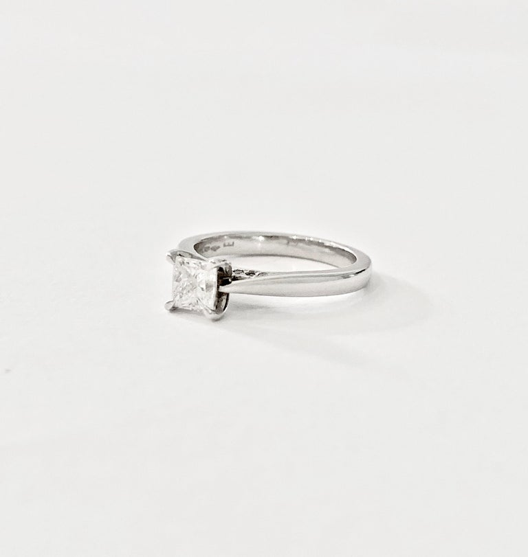 Modern GIA 0.50 Carat Princess Cut Diamond Ring in Platinum For Sale
