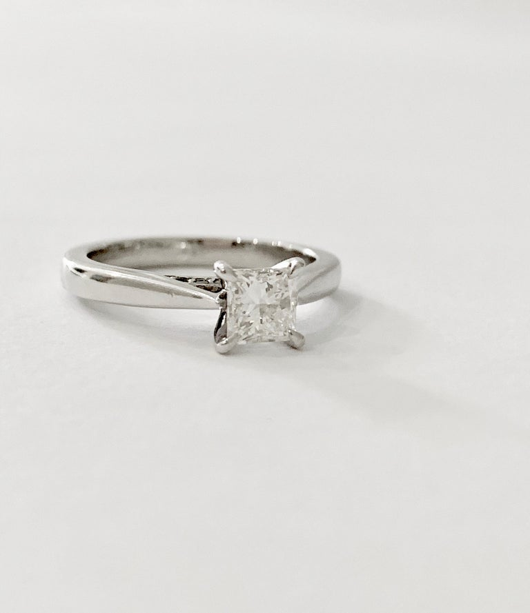 GIA 0.50 Carat Princess Cut Diamond Ring in Platinum For Sale 1