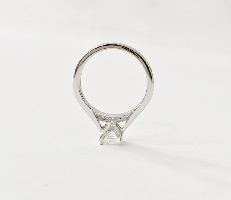 GIA 0.50 Carat Princess Cut Diamond Ring in Platinum For Sale 3