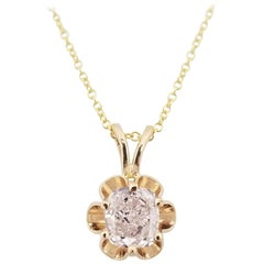 GIA 0.53 Carat Cushion Pink Diamond Pendant 14 Karat Gold