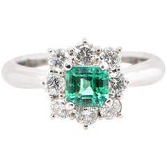 GIA 0.61 Carat No Oil Colombian Emerald and Diamond Ring Set in Platinum