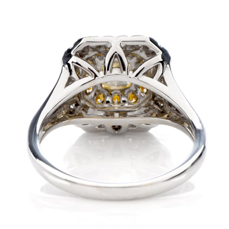 Art Deco GIA 0.65 Carat Fancy Yellow Diamond 18K Gold Halo Engagement Ring For Sale