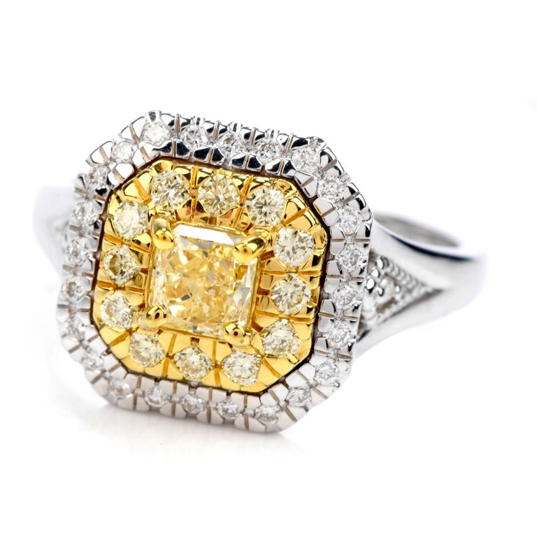 Square Cut GIA 0.65 Carat Fancy Yellow Diamond 18K Gold Halo Engagement Ring For Sale