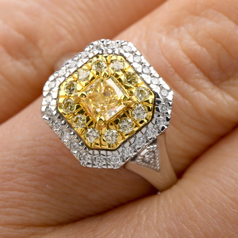 Women's or Men's GIA 0.65 Carat Fancy Yellow Diamond 18K Gold Halo Engagement Ring For Sale