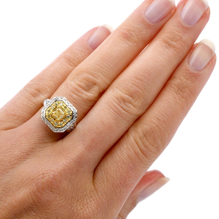GIA 0.65 Carat Fancy Yellow Diamond 18K Gold Halo Engagement Ring For Sale 1