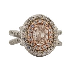 GIA 0.72 Carat Natural Fancy Brown Cushion Diamond Ring 14 Karat White Gold